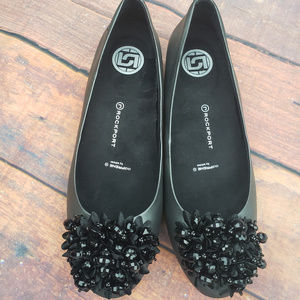 Adidas Rockport Black Flats with bedazzled accents